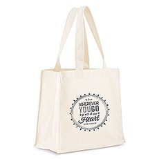 Custom Personalized White Cotton Canvas Fabric Tote Bag- Wherever You Go