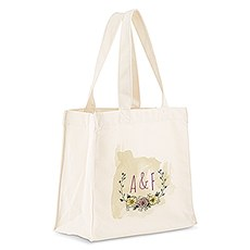 Custom Personalized White Cotton Canvas Fabric Tote Bag- Natural Charm