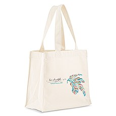 Custom Personalized White Cotton Canvas Fabric Tote Bag- Feather Whimsy