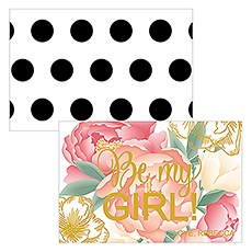 Modern Floral Large Rectangular Card - Be My Girl Print