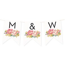 Custom Decorative Pennant Flag Party Bunting Banner - Modern Floral