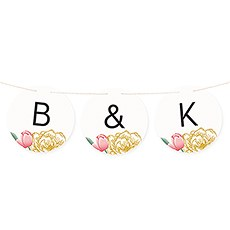 Custom Round Pennant Flag Bunting Banner - Modern Floral