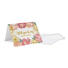 "Modern Floral ""Bridesmaid Ask"" Card With Fold"