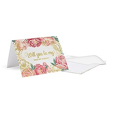 "Modern Floral ""Bridesmaid Ask"" Foiled Card with Fold"