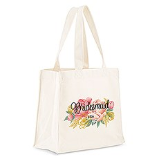 Personalized White Cotton Canvas Tote Bag- Modern Floral