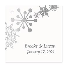 Personalized Metallic Foil Square Favor Tag - Winter Finery