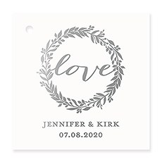 Personalized Metallic Foil Square Favor Tag - Love Wreath