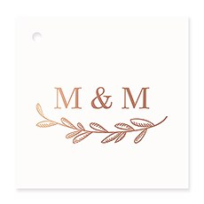 Personalized Metallic Foil Square Favor Tag - Garland Monogram