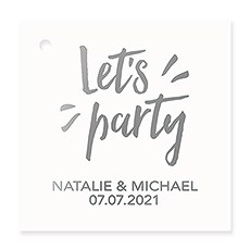 Personalized Metallic Foil Square Favor Tag - Let's Party