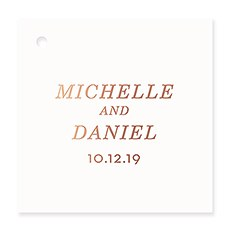 Personalized Metallic Foil Square Favor Tag - Classic Couple
