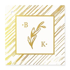Personalized Metallic Foil Square Favor Tag - Rustic Love