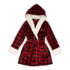 Women's Personalized Embroidered Fluffy Plush Robe with Hood - Buffalo Plaid