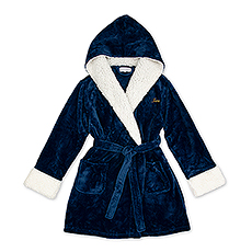 Women's Personalized Embroidered Fluffy Plush Robe with Hood - Navy Blue