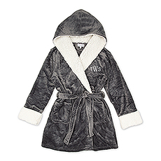 Women's Personalized Embroidered Fluffy Plush Robe with Hood - Grey