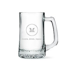 Engraved Glass Beer Mug Gift for Men - Monogrammed
