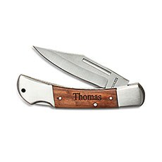 Personalized Wood Handled Locking Blade Pocket Knife – Monogram Engraved