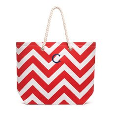 Personalized Extra-Large Cabana Canvas Fabric Tote Bag - Red Chevron
