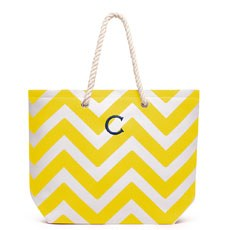 Personalized Large Cabana Stripe Canvas Fabric Tote Bag- Yellow