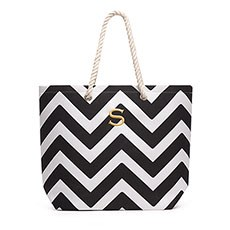 Personalized Large Cabana Canvas Fabric Tote Bag- Black Chevron