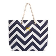 Personalized Large Cabana Canvas Fabric Tote Bag- Navy Chevron