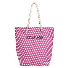 Large Personalized Striped Cabana Nylon/Cotton Blend Beach Tote Bag- Pink