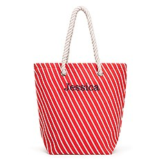 Large Personalized Striped Cabana Nylon/Cotton Blend Beach Tote Bag- Red