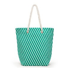 Large Personalized Striped Cabana Nylon/Cotton Blend Beach Tote Bag- Grey