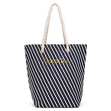 Large Personalized Striped Cabana Nylon/Cotton Blend Beach Tote Bag- Navy