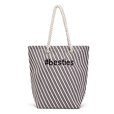 Personalized Cabana Nylon/Cotton Blend Beach Tote Bag - Gray Stripe