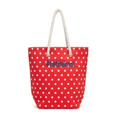 Personalized Cabana Nylon/Cotton Blend Beach Tote Bag - Red Polka Dot