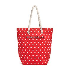 Large Personalized Polka Dot Cabana Nylon/Cotton Blend Beach Tote Bag- Red