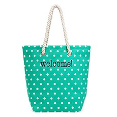 Large Personalized Polka Dot Cabana Nylon/Cotton Blend Beach Tote Bag- Green