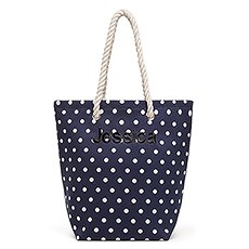 Large Personalized Polka Dot Cabana Nylon/Cotton Blend Beach Tote Bag- Navy