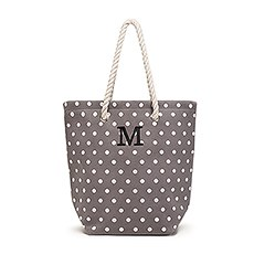 Large Personalized Polka Dot Cabana Nylon/Cotton Blend Beach Tote Bag- Grey