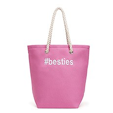 Large Personalized Cabana Nylon/Cotton Blend Beach Tote Bag- Pink