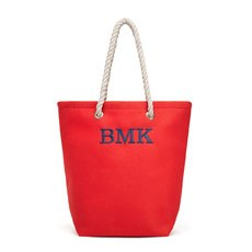 Large Personalized Cabana Nylon/Cotton Blend Beach Tote Bag- Red