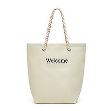 Personalized Cabana Nylon/Cotton Blend Beach Tote Bag- Natural