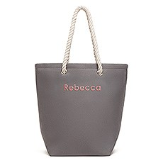 Large Personalized Cabana Nylon/Cotton Blend Beach Tote Bag- Grey