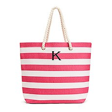 Personalized Large Cabana Stripe Canvas Fabric Tote Bag - Pink