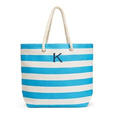 Personalized Large Cabana Stripe Canvas Fabric Tote Bag- Sky Blue