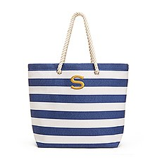 Personalized Large Cabana Stripe Canvas Fabric Tote Bag- Navy