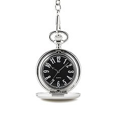 Personalized Pocket Watch and Fob - Textured Silver