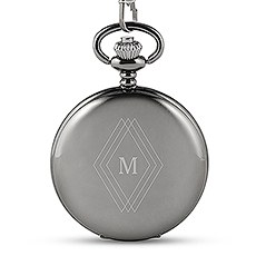Personalized Gunmetal Pocket Watch & Fob - Diamond Emblem Monogram