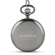 Personalized Gunmetal Pocket Watch & Fob - Modern Groomsman