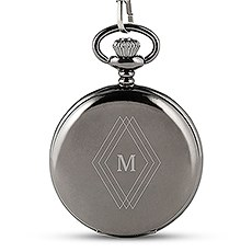 Personalized Gunmetal Mechanical Pocket Watch & Fob - Diamond Emblem Monogram