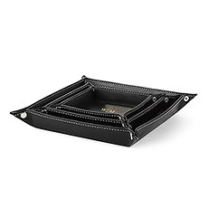 Three Piece Valet Tray Set - Line Monogram Emboss