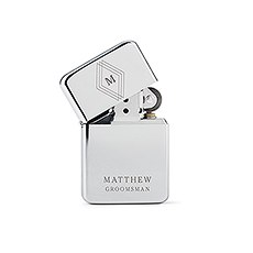 Custom Classic Metal Windproof Lighter -  Diamond Emblem Monogram Engraving