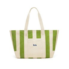 Large Personalized Cotton Canvas Fabric Tote Bag- Striped Green