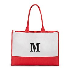 Personalized Color Block Canvas Tote Bag- Red