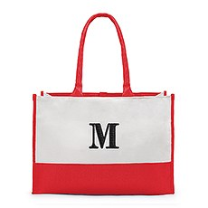 Large Personalized Color Block Canvas Fabric Tote Bag- Coral / Soft Red